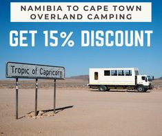 Namibia to Cape Town, overland camping. Get all of this and discount: Etosha National Park Swakopmund Namib Desert Spitzkoppe Rock Paintings Fish River Canyon Orange River Cederberg Mountain And finally, Cape Town. Camping Tours, Tropic Of Capricorn, Namib Desert, Adventure Activities, Africa Travel, Cape Town, Budget Travel, Recreational Vehicles, National Parks