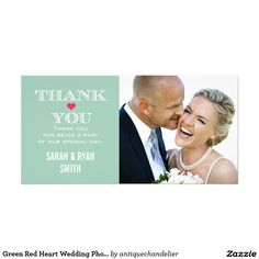 Green Red Heart Wedding Photo Thank You Cards Green Red Heart Wedding Photo Thank You Cards: Use these elegant photo cards to send out to your guests to say thanks for being a part of your wedding celebration. Completely customize with your own message, names and picture. If you wish to change the graphic, please contact me through my store. AntiqueChandelier© http://www.antiquechandelier.ca