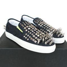 DSQUARED2 $960 spike studded denim sneakers slip-on spiked dsquared shoes 42 NEW #Dsquared2 #Fashion #Sneakers #Spiked #Punk #dsquared #Spikes