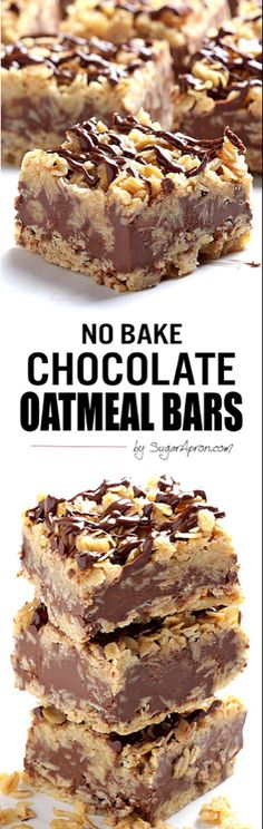 Chocolate Oatmeal Bars The only thing easier than making these no-bake chocolate oatmeal bars is eating them.The only thing easier than making these no-bake chocolate oatmeal bars is eating them. No Bake Desserts, Easy Desserts, Dessert Recipes, Baking Desserts, Bar Recipes, Homemade Desserts, Health Desserts, Fruit Recipes, Chocolate Oatmeal
