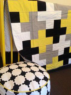 Grey Cross Quilt Yellow Black Plus Cot Quilt by RosaleesRoom