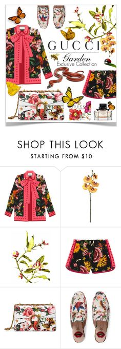 """""""Presenting the Gucci Garden Exclusive Collection: Contest Entry"""" by kmvr316 ❤ liked on Polyvore featuring Gucci, Pavilion Broadway, Language Of Flowers, Traits and gucci"""