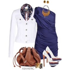 Blue white brown, created by julyjess on Polyvore