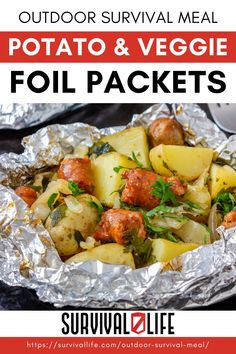 With temperatures finally cooling down, it's the ideal time to add this outdoor survival meal to your dinner menu. These potato, corn and carrot foil packets are a healthy and hearty choice – and all you need is a grill and an open flame. #survivallife #survival #preparedness #survivalist #prepper #camping #outdoors #spring #outdoorsurvivalmeal #foilpackets #campcooking #campingrecipes Camping Lunches, Foil Packets, Best Breakfast Recipes, Camping Outdoors, Outdoor Survival, Dinner Menu, Outdoor Cooking, Carrot, Veggies