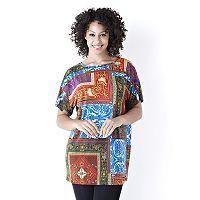 104020 - Kim & Co Scarf Print Dolman Sleeve Tunic