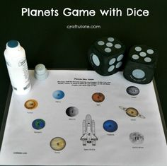 Planets Game with Dice - with free printable