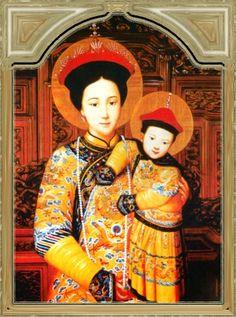 Oriental Virgin Mary and baby Jesus