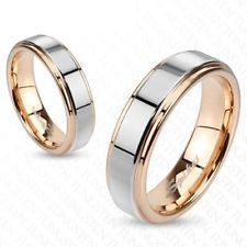 Men & Women Inner Rose Gold IP Two Tone Tungsten Band Ring with Step Edges