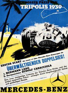 1939 Mercedes Benz Tripoli Grand Prix Ad Fine Art Print