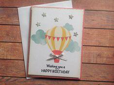 Handmade birthday card, hot air balloon card, birthday card,balloon card, handmade card,