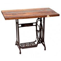 Mesa auxiliar estilo industrial modelo Antic, fabricada la encimera con madera de mango y el pie es reutilizado de una máquina de coser:      Ancho: 53 cm     Largo: 100 cm     Alto: 75 cm     Color: Marrón y Negro