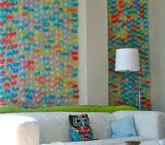 wall art with those 50 cent toy capsules - how would you ever get that many??