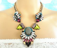 Multi+colors+bold+prong+stone+mixed+antique+gold+by+Trendysky,+$19.99