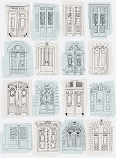 Architectural drawings of Doors by Annie Standard visit today! Architectural drawings of Doors by Annie Standard visit today! Buch Design, Illustration Art, Illustrations, Architecture Drawings, Drawings Of Buildings, Architecture Journal, Windows Architecture, Urban Architecture, Inspiration Art