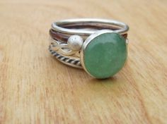 Sea Green Gemstone Silver Stacking Set by RootsJewelry on Etsy, $94.00 by cathleen