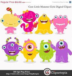 Lindas monstritas niñas digital clipart para uso personal y comercial