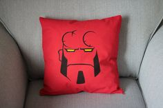 Customised Hellboy Cushion Cover by CitadelTraders on Etsy, £9.50