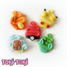 Pokemon Cupcake Charm Necklace Inspired Pokeball Pikachu Bulbasaur Squirtle & Charmander Anime Manga Polymer Clay Accessory