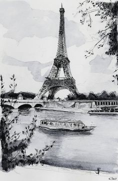 This is an amazing ink print of the Eiffel Tower and the Seine River Boat cruises that I visited 11 years ago -  Paris Print the Eiffel Tower and the Seine  French by NicolasJolly, €7.00