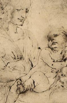 "Leonardo da Vinci, 1452-1519, Italian, Study of a ""Madonna and Child with a Cat, c.1478-80. Pen and ink, 12.5 x 10.5 cm. Galleria degli Uffizi, Florence. High Renaissance."