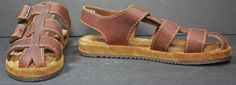 NWOB Women's Bass Brown Leather Fisherman Sandals Flats Shoes sz 9½ M  #Bass #Strappy