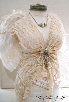 The beauty of angels.and angel wings ~ Antique Lace, Vintage Lace, Vintage Dresses, Shabby Vintage, Vintage Decor, Vintage Mannequin, Dress Form Mannequin, Smash Book, Corsets