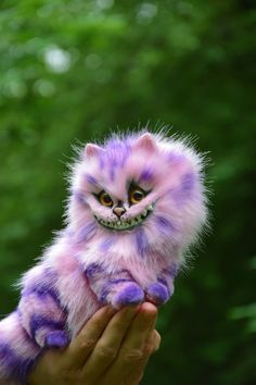 Pink Cheshire Cat Realistic toy by MonkeyBusinessToys. Fantasy creatures, Whimsical toys & pets toys from faux fur and polymer clay for home decorations and collectibles