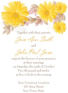 Yellow Flower/Daisy Wedding invite