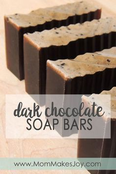 These dark chocolate all-natural soap bars are almost delicious enough to eat! Learn how to make them yourself with this simple tutorial! | How to make soap without lye | Soap Making | DIY Bath and Body | Mom Makes Joy