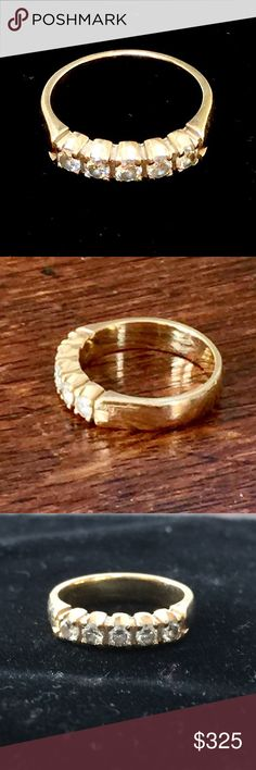 Diamond and gold ring Gold band set with 5 diamonds.  One of two rings that I am selling for a friend.  Not sure of original price as she inherited the ring and does not have paperwork on it so listing for well below what a similar ring would likely go for based on what I found from researching price points for comparable pieces.  Happy to try and answer any questions as best I can. Jewelry Rings