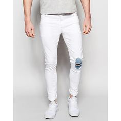 ASOS Super Skinny Jeans With Knee Rips And Patch Detail ($35) ❤ liked on Polyvore featuring men's fashion, men's clothing, men's jeans, white, mens ripped skinny jeans, mens skinny fit jeans, mens destroyed jeans, mens white skinny jeans and tall mens jeans