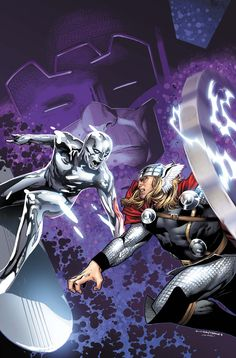 Galactus, Devourer of Worlds, Silver Surfer Norrin Radd and Thor Odinson, God of Thunder (cover to The Mighty Thor Vol. 2 #4)