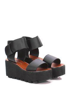 Windsor Smith - Zeppe - Donna - Zeppa in pelle con cinturino alla caviglia e suola in gomma. Tacco 75, platform 50 con battuta 25. - BLACK - € 100.00