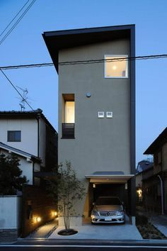 Design of ultra-small slim homes within the metropolis aka area of interest housing .- Design of small and slim housing within the metropolis aka Area of interest housing … - Narrow House Designs, Small House Design, Small House Exteriors, Modern Tiny House, Facade Design, Exterior Design, Modern Townhouse, Compact House, Japanese House