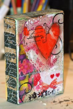 Mixed Media Canvas Heart Original Sweet art on wood canvas. 5 x 7 x 1 1/2 acrylics/inks/oil pastels mixed media art with wood backing. All four sides are collaged and journaled on, as shown in photos. Thank you for browsing Pink Soul Studios! *Sales Final* ©Pink Soul Studios All rights reserved. Copyrights to all photography and art are retained by Pink Soul Studios, unless otherwise indicated.