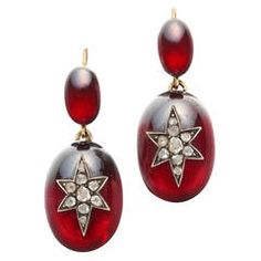 Victorian Garnet and Diamond Drop Earrings 4