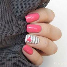 Gray, white & pink & heart