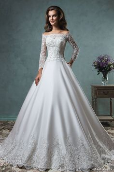 off the shoulder lace long sleeves embroideried bodice beautiful satin a line ball gown wedding dress canty