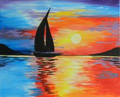 sunset sail deb (800×646) Wine Painting, Painting & Drawing, Colorful Paintings, Easy Paintings, Beach Sketches, Drawing Sunset, 7th Grade Art, Paint And Sip, Sunset Pictures