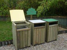Lot de 3 poubelles en Pin 100L Tri sélectif sur JardinDeco.com