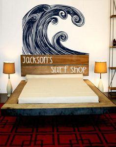 Headboard Surf Art  Hang Ten Decor   Ocean inspired door 3rdAveShore, $165,00