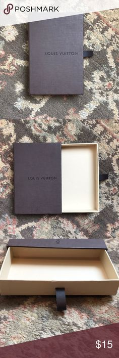 Louis Vuitton Small Wallet Box AUTHENTIC!! Used and in Good condition! See pictures for dimensions! Can fit a small men's wallet! BOX ONLY!  No trades! BUNDLE AND SAVE!!!  Please review all pictures and ask any questions before purchase, SOLD AS IS!  Thank you for looking and Happy Poshing!   Check out my closet for more accessory listings! Louis Vuitton Other