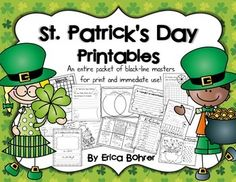 This packet contains no prep printables for St. Patrick's Day.  Included:What is St. Patrick's Day Mini-BookBuild a Word: leprechaun, lucky, shamrock3 St. Patrick's Day editingValentine's Day and St. Patrick's Day Venn with Cut and Paste WordsSt. Patrick's Day Word SearchIf I Found a Pot of Gold WritingBlank Letter Writing PageMy Four-Leaf Clover WishHow to Catch a LeprechaunSt.