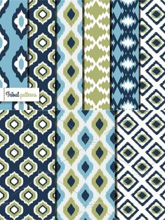 Retro ikat tribal seamless patterns. Patterns. $5.00