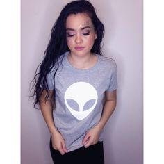 Alien Shirt Alien Tshirt Women's Ufo Tee Extraterrestrial Tshirt Alien... ($20) ❤ liked on Polyvore featuring tops, t-shirts, grey, women's clothing, crop t shirt, cotton t shirts, gray t shirt, checkered shirt and crop tee