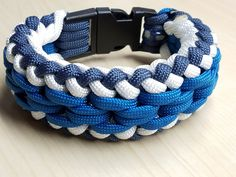 Teal, white, navy blue paracord bracelet with buckle