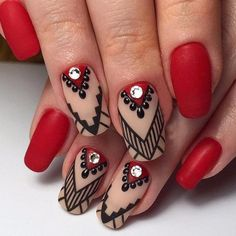 75 stylish spring flower nail art designs and ideas 28 Elegant Nail Designs, Elegant Nails, Beautiful Nail Designs, Nail Art Designs, New Year's Nails, Red Nails, Nails Polish, Luxury Nails, Flower Nail Art