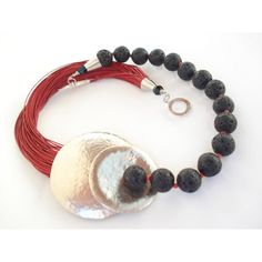 Black Lava Red Multi Strand Cord Necklace Hammered Silver Necklace... ($74) ❤ liked on Polyvore featuring jewelry, necklaces, hammered necklace, silver necklace, silver jewellery, multiple strand necklace and silver jewelry