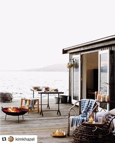 terrace decoration Hygge furnishing style: New Scandinavian trends - living with classic . - terrace decoration Hygge furnishing style: New Scandinavian trends – living with classics - Hygge, Outdoor Spaces, Outdoor Living, Lakeside Living, Indoor Outdoor, Estilo Interior, Interior And Exterior, Interior Design, Modern Exterior