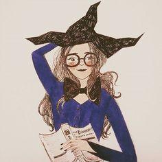 My version of Hermione Granger :D #inktober #inktober2016 #illustration #illustrator #witch #halloween #hermione #harrypotter  #harrypotterworld